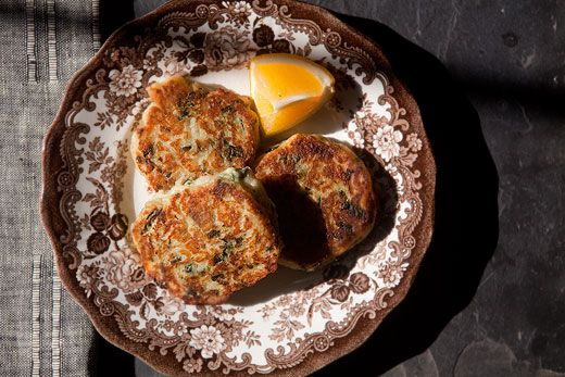 Fried potato patties made from leftover colcannon, a combination of mashed potatoes, kale or other greens, and scallions or green onions.