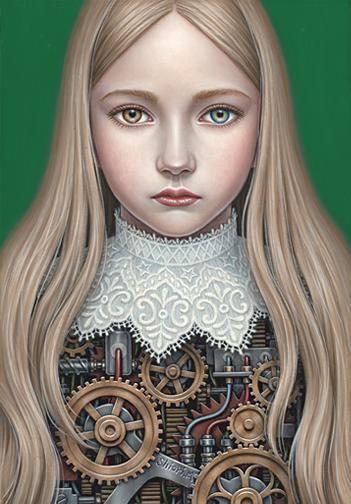 AWAKE -Sarah- , (SM) 22.7x15.8cm, Oil on canvas, #2012 // 작품의 모티브로는 성(姓),여자,성폭력,임신 등이 주를 이룬다. 작품 속에서 여성과 남성의 상징적인 것들이 뚜렷하게 구분되어 나타나는데, 작품속에서 자주 등장하는 새와 사과 등은 여성의 순결, 순수를 상징하고, 화살과 동물은 남성을 상징한다고 한다. 그밖에도 서커스와 삐에로 분장은 남성을 위한 쇼를, 소녀의 몸의 기계태엽은 남성이 시키는대로 할 수 밖에 없는 상황을 표현한 듯하다.
