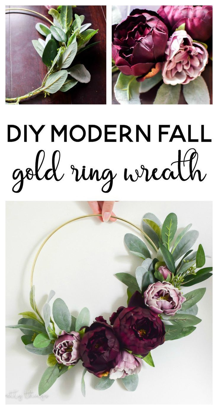 DIY moderner Herbst Gold Ring Kranz – – #DIY #Gold…