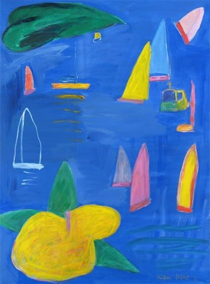 Artwork by Ken Done, Boats and Yellow Hibiscus, Made of Oil on canvas