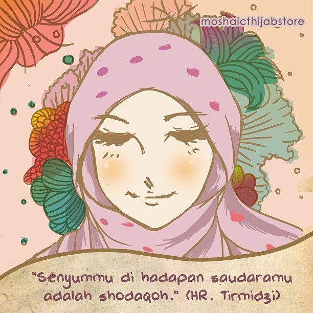 """Senyummu di hadapan saudaramu adalah shodaqoh"" -HR. Tirmidzi [www.moshaict.com]"