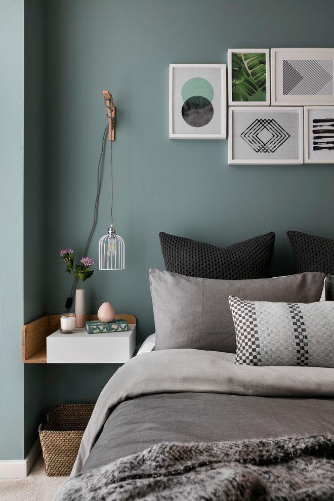 blue green wall bedroom scandinavian with wall art design decorative pillows