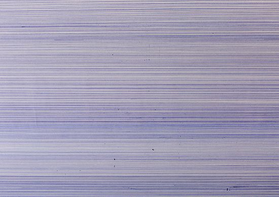 Tom Lore de Jong  10.996 METER, 2016 [Single line to the deepest point of the ocean] ballpoint on paper 240 x 420 cm