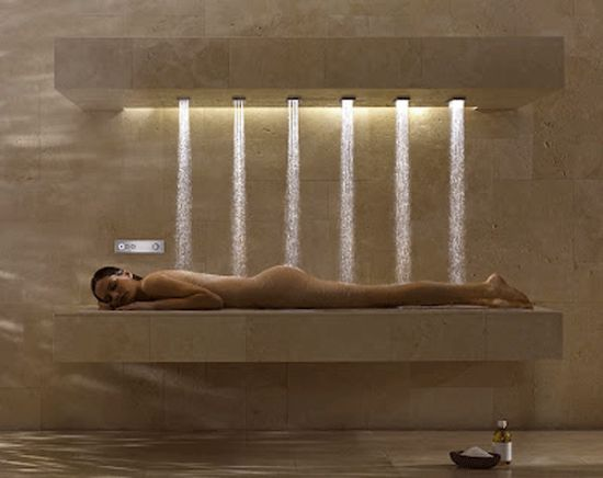Horizontal shower is like a car wash for human bodies
