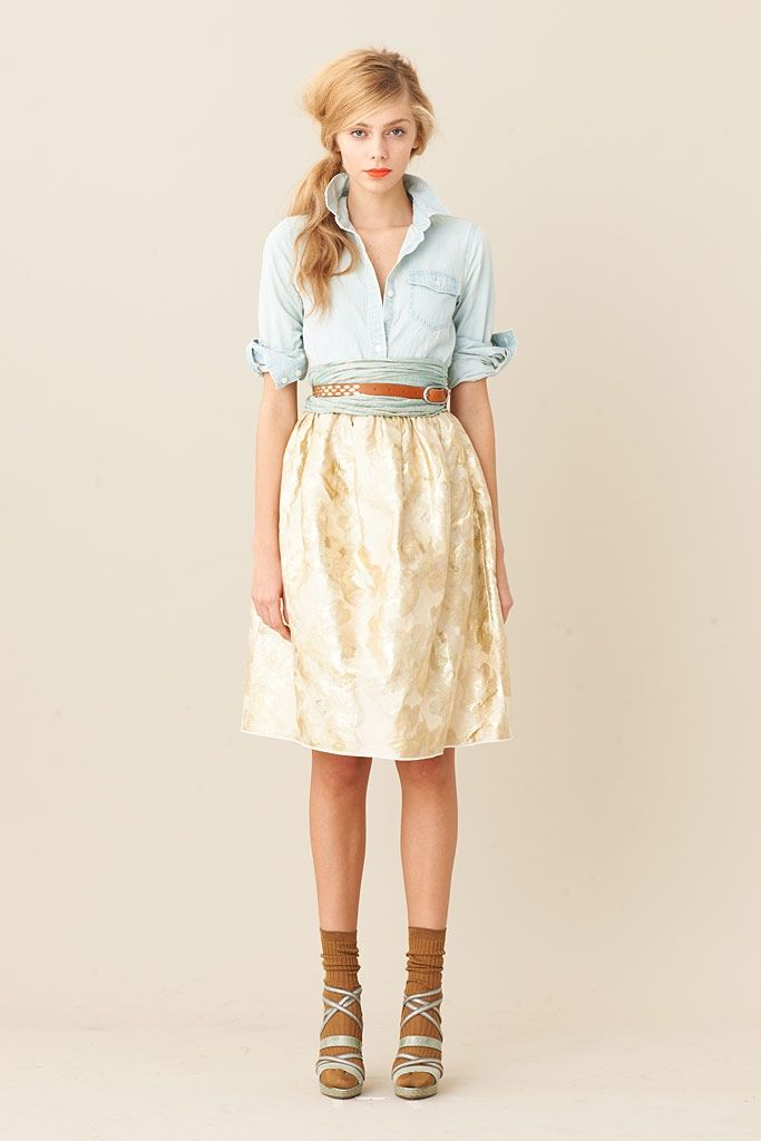 belt over scarf. wanting a denim shirt. minus the socks.Fashion, Skirts, Style, J Crew, Outfit, Denim Shirts, Socks, Spring 2011, Jcrew Spring