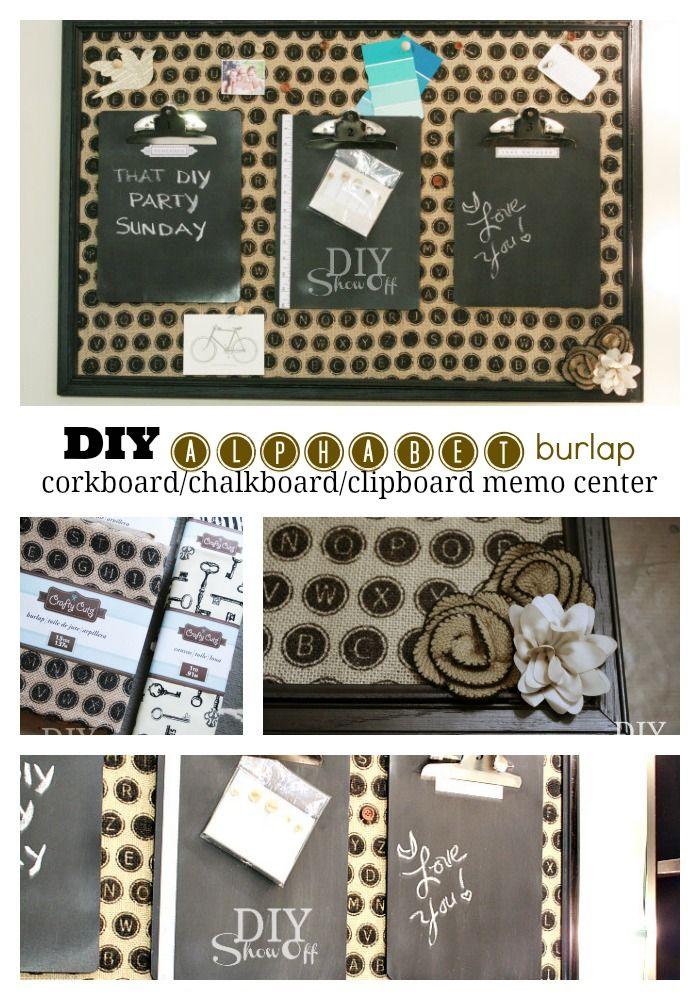 DIY Alphabet Burlap Cork Board Chalkboard Message Center Tutorial