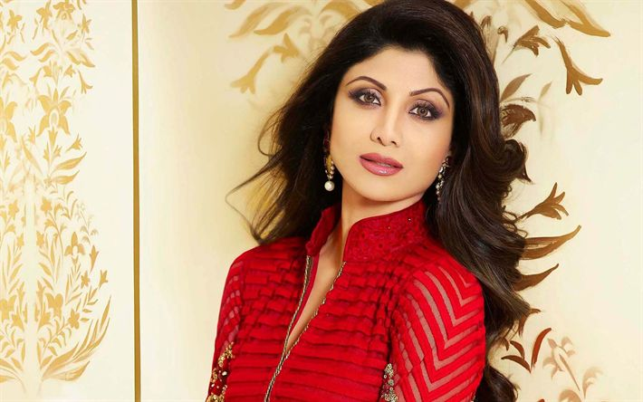 Download imagens Shilpa Shetty, A atriz indiana, retrato, Bollywood, vermelho vestido Indiano, sorriso, morena