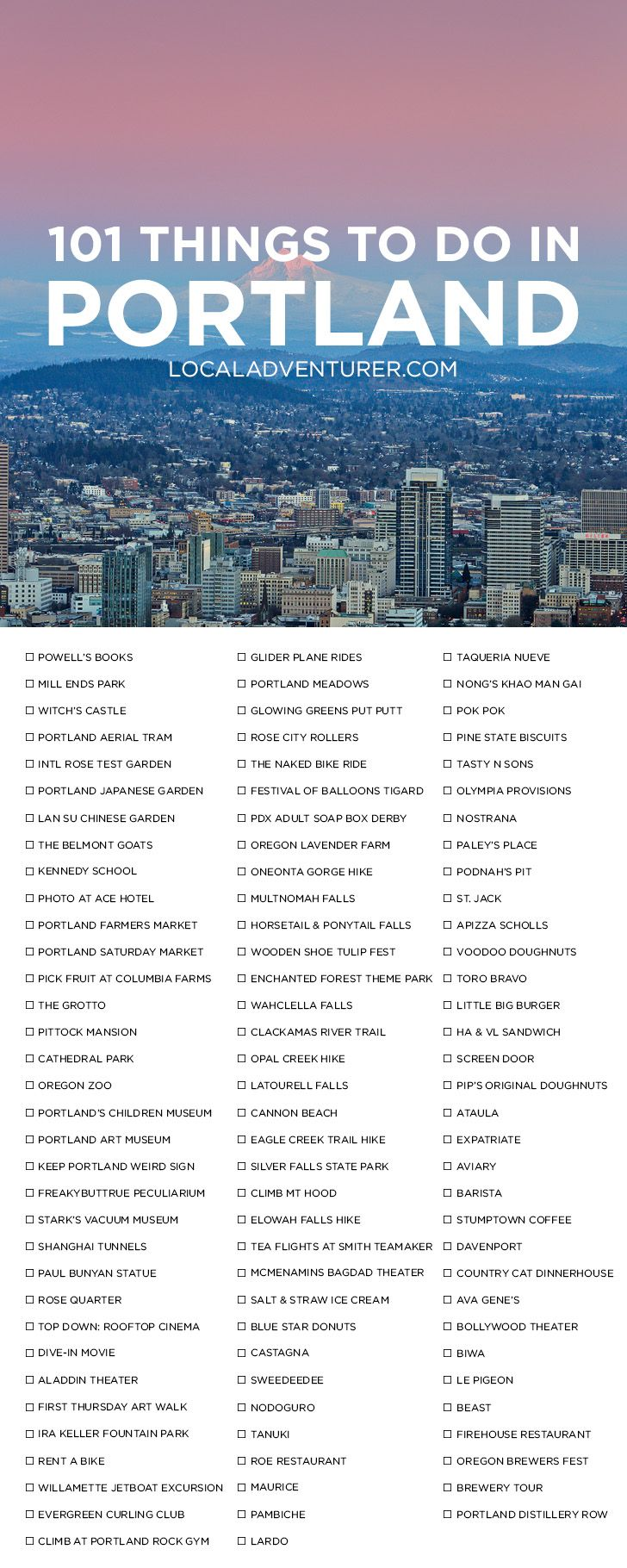 101 Things to Do in Portland Oregon { click through to get printable version } - the Ultimate Portland Bucket List - from the touristy spots everyone has to do at least once to the spots a little more off the beaten path. // localadventurer.com