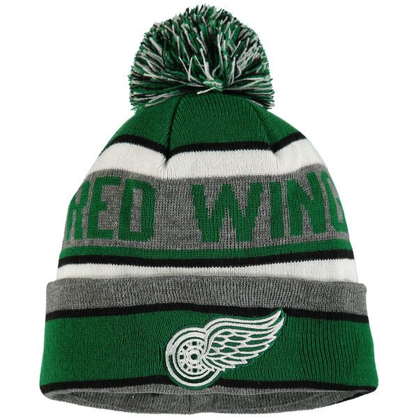 Men's Detroit Red Wings Old Time Hockey Green/Charcoal St. Patrick's Day Duggan Cuffed Knit Hat with Pom  $21.99