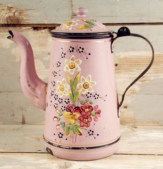 Vintage antique French  coffee pot pink by SmeerlingAntiques