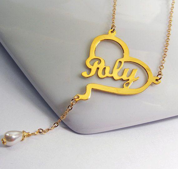 Collar con nombre en el corazon con perla collar con nombre