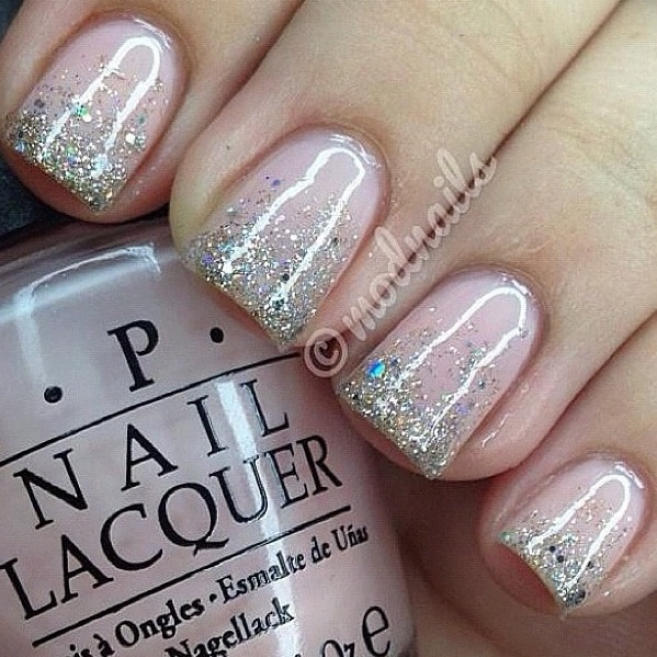 Pink french mani glitter nails