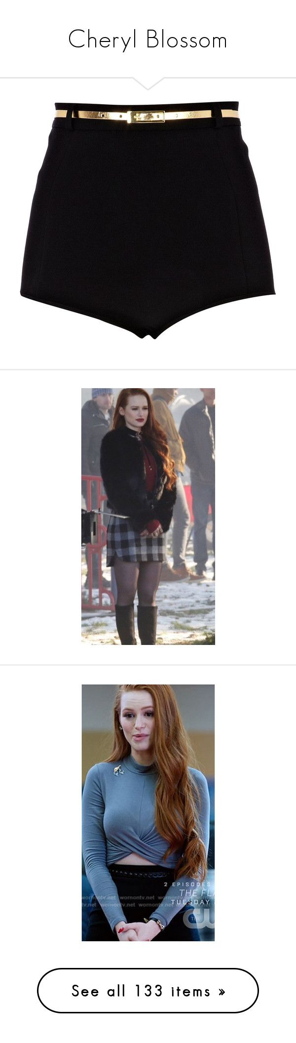 """""""Cheryl Blossom"""" by rebellious-ingenue ❤ liked on Polyvore featuring shorts, bottoms, pants, short, high rise shorts, river island, party shorts, high-rise shorts, high-waisted shorts and dresses"""