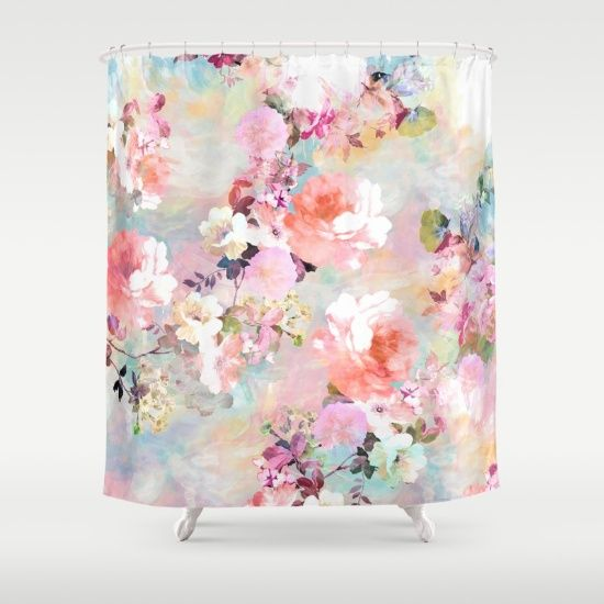 Romantic Pink Teal Watercolor Chic Floral Pattern . a girly, elegant and chic…