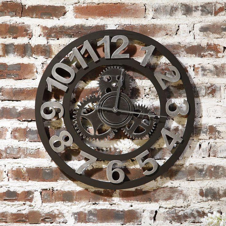 """Купить товарРетро Anquie промышленного готовится декоративные большие настенные часы американский стиль страна для гостиной кафе искусство украшения стены в категории Настенные часына AliExpress.                Часы материал: средней плотности ДВП       Размер: 49.6       См диаметр (19.5 """")"""