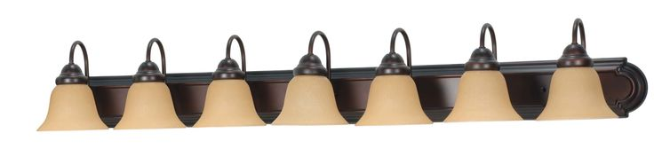 "Nuvo Lighting 60/1268 Ballerina 7 Light 48"" Wide Vanity Light with Champagne Was Mahogany Bronze Indoor Lighting Bathroom Fixtures Vanity Light"