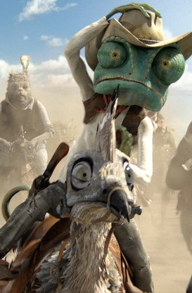Rango - Oscar nominated -  Animated Feature Film- this is so funny Rango falls to the side and goes all around the bird till he is upright again