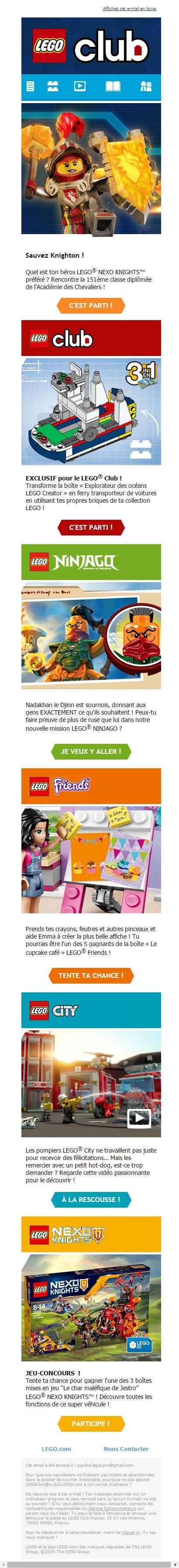LEGO Club : Email nouveautés produits
