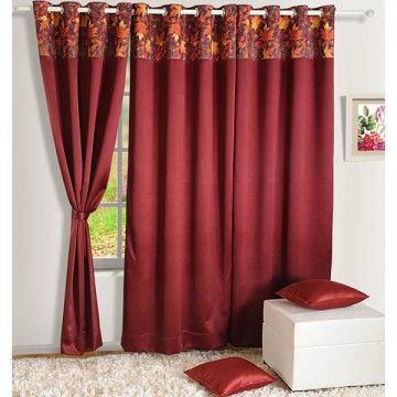 Blackout Curtains Printed Maroon-1105