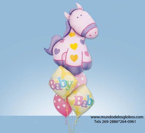 Bouquet de Caballito Gigante con Diamantes Welcome Baby y Globos de Corazones Rosados