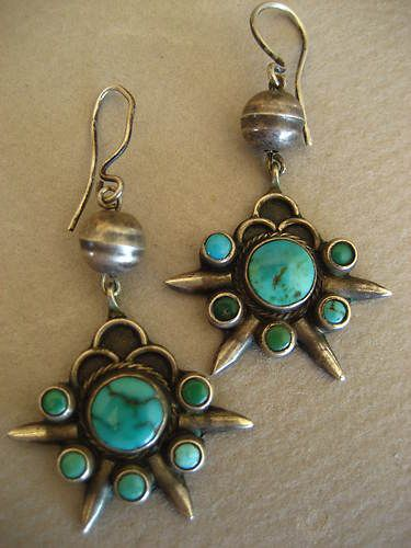 Pretty Vintage Navajo Turquoise Earrings | eBay