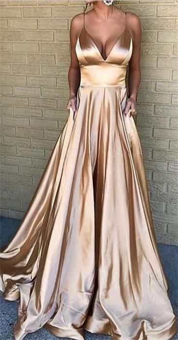 Spaghetti Straps Simple Cheap Prom Dress, fashion A-line prom gown , PD0900#prom... 2
