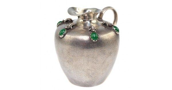 Letiera / Sosiera din argint si agata verde - British Raj