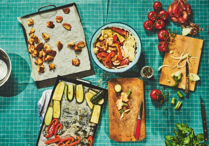 Brotsalat mit geröstetem Gemüse