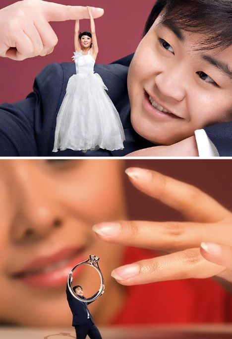 That ring picture is pretty cute- photo-shopped engagement or wedding photos might be fun!