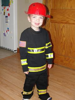 Materials: Plastic Firefighter Hat (Dollar Tree)  $1 Black Shirt (Old Navy - and bought it two sizes larger than what Noah normally wear in ...