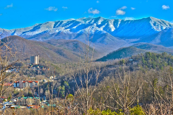 Snowcapped Smoky Mountains from the Gatlinburg overlook