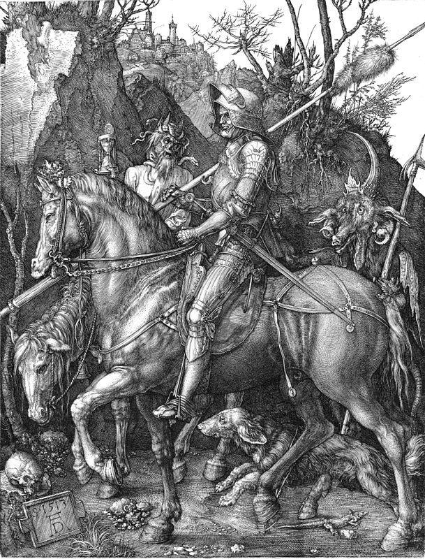 Альбрехт Дюрер,Ханс Бальдунг. Рыцарь,смерть и дьявол.1513.