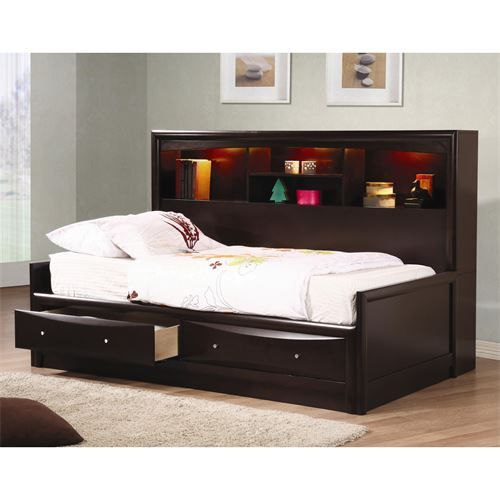 Coaster Furniture 400410F Phoenix Full Daybed in Capucchino with Bookcase and Storage Drawers