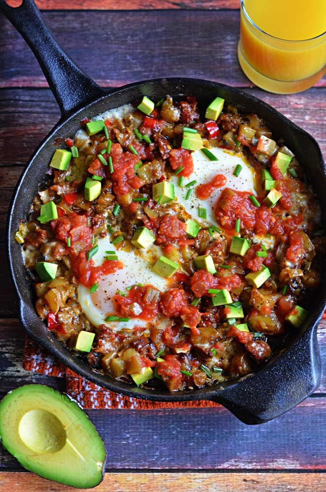 Chorizo Green Chile Breakfast Skillet.  Spice up your morning with some sausage, eggs, avocado, and chiles!  Also, can I just say that this makes a great hangover cure? | blog.hostthetoast.com