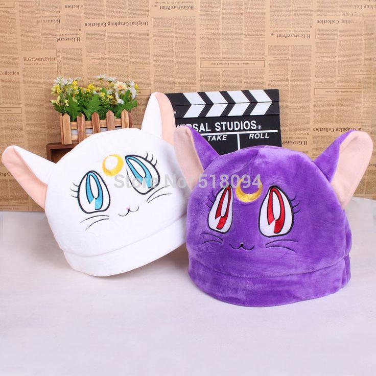 Аниме мультфильм сейлор мун черный кот луна белый артемида плюшевые шляпа зимняя шапка косплей шляпы Custume ANHT033