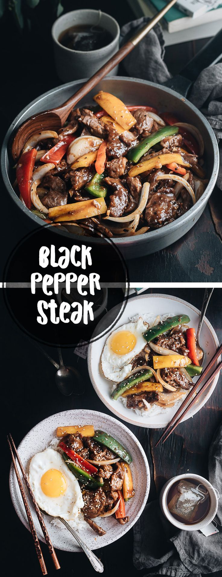 Restaurant-style black pepper steak that is tender, juicy and rich, with crisp veggies and a scrumptious sauce that goes perfectly with steamed rice. {Gluten Free Adaptable}