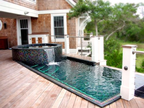 Small Backyard Pool Designs make sure the style of the pool matches with your home design robert kaner Find This Pin And More On Amazing Pools And Backyard Escapes Small Swimming Pool Designs