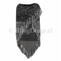 Omslag sjaal gebreid zwart/grijs