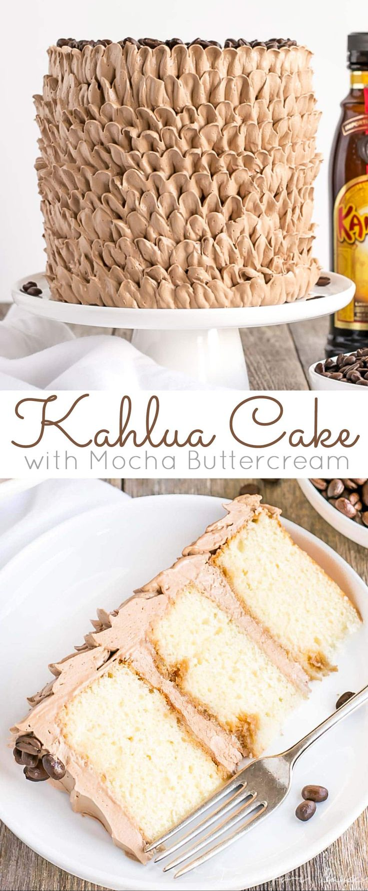 This pretty Kahlua Cake is infused with coffee liqueur & espresso, and adorned with billowy mocha buttercream ruffles. | http://livforcake.com