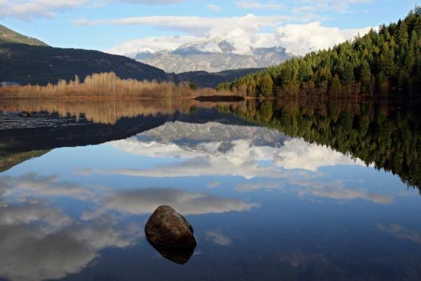 One mile lake one rock reflection Pemberton B.C Canada Photograph