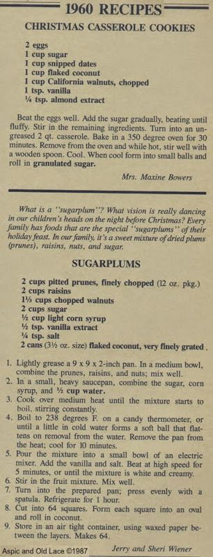 1960 Recipe for Sugar Plums and Christmas Casserole Cookies