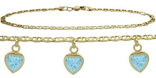 14K Yellow Gold Mariner Anklet with 2.55 Carat Genuine Blue Topaz Heart Charm ** Read more  at the image link. (This is an Amazon Affiliate link and I receive a commission for the sales)