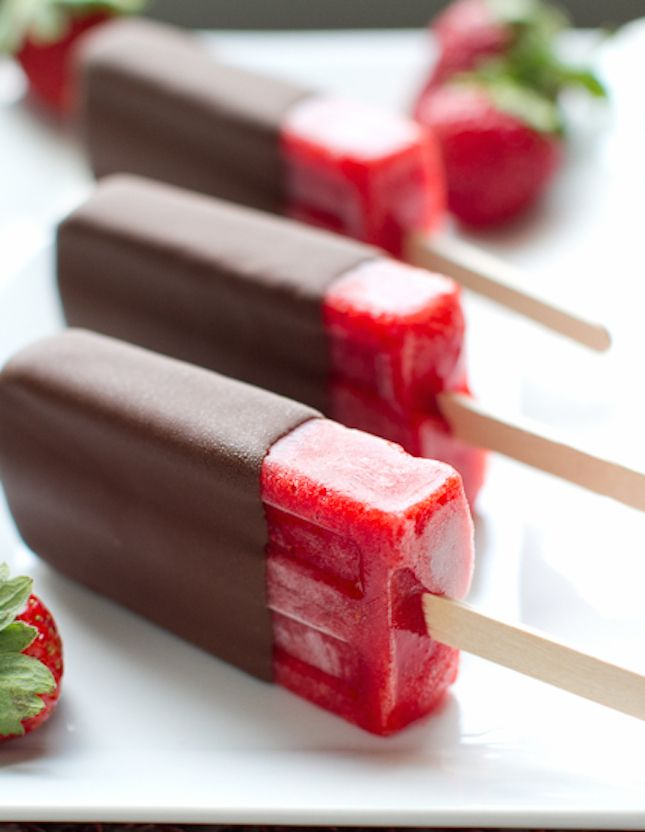 Satisfy your sweet tooth with Chocolate Covered Strawberry Popsicles.