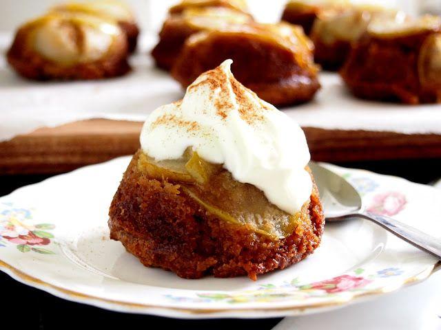 Upside Down Caramel Pear Cakes #Paleo | Petite Kitchen