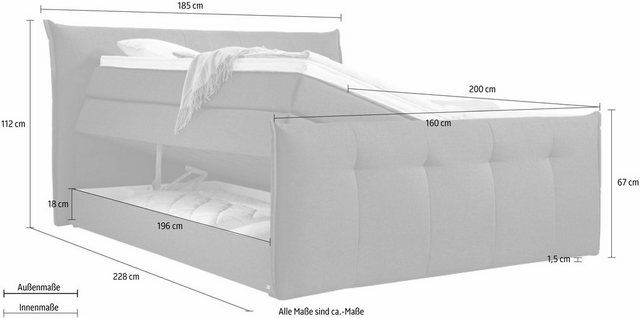 Boxspringbett »Florida«, mit Bettkasten, in 5 Liegekomfortvarianten