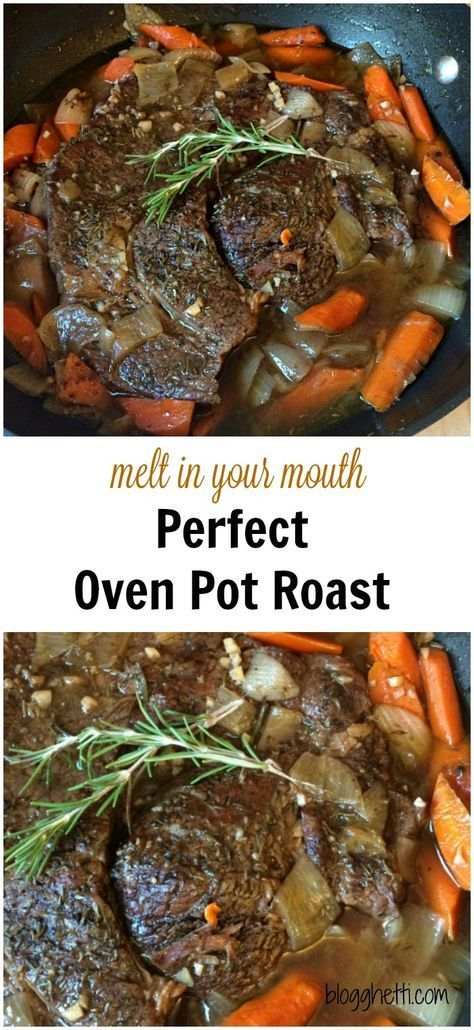 This recipe for the Perfect Oven Pot Roast, in fact, is the perfect meal. The meat is slow cooked in the oven with carrots and onions until the meat is fall-apart-tender and the carrots are tender crisp.