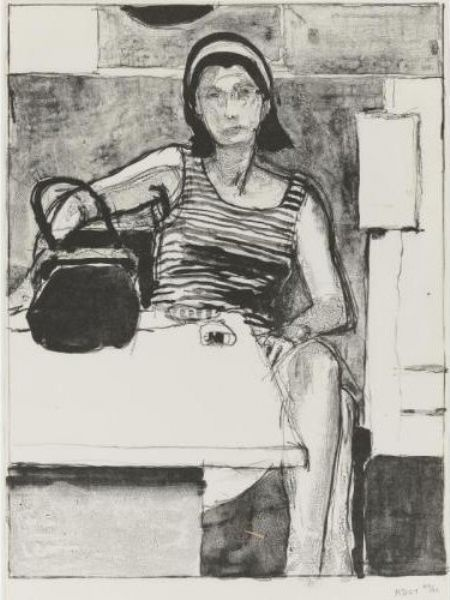 Richard Diebenkorn - I love this figure with the tea pot in front of her. The pot is the largest dark shape in the picture, then from there our eye moves up the arm of the figure.