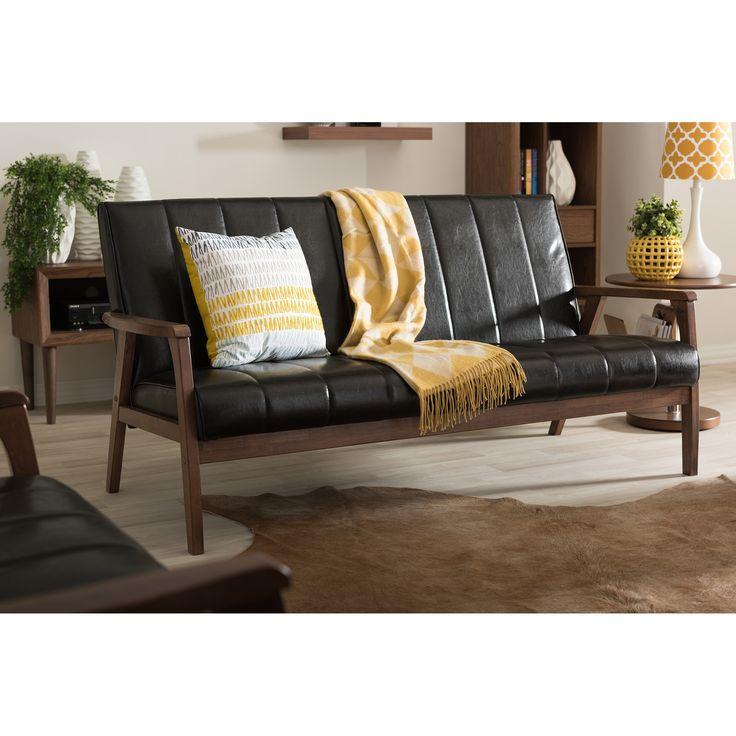 Baxton Studio Nikko Mid Century Modern Scandinavian Style Black Faux  Leather Wooden 3 Seater Sofa (Sofa Black)