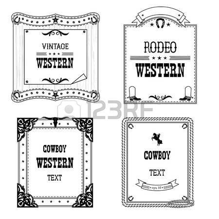 ensemble des �tiquettes et des cadres dans le style occidental isol� sur blanc pour design.Vector cadres anciens avec le texte photo
