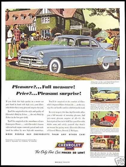 Chevrolet 4 Car Vintage Print Sports Theme (1952)